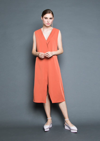 Sleeveless Foldover Slit Midi Dress (Burnt Orange) - Moxie