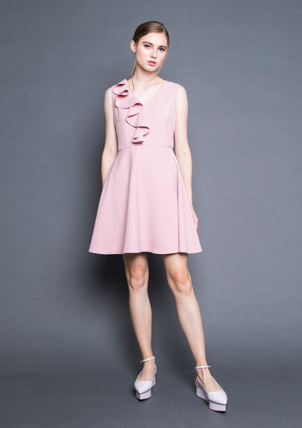 V-Neck Ruffle Dress (Pink)