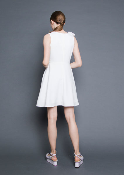 V-Neck Ruffle Dress (White)