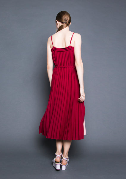 Bi-Colour Pleated Midi Dress (Red/Pink) - Moxie