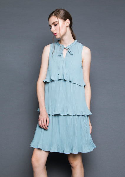 Tiered Pleated Dress (Green)