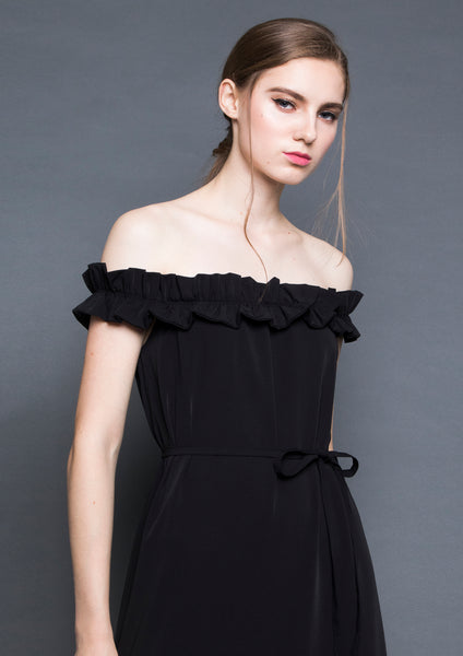 Ruffle Off-Shoulder Maxi Dress (Black) - Moxie