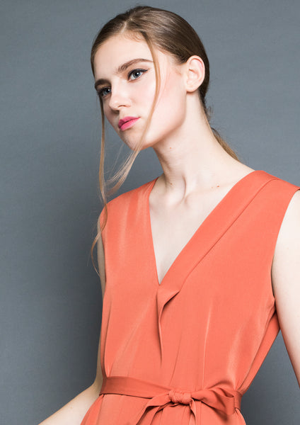 Sleeveless Foldover Slit Midi Dress (Burnt Orange)