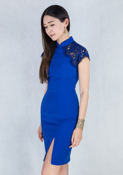 Sheer Lace Sleeves Qipao (Electric Blue) - Moxie