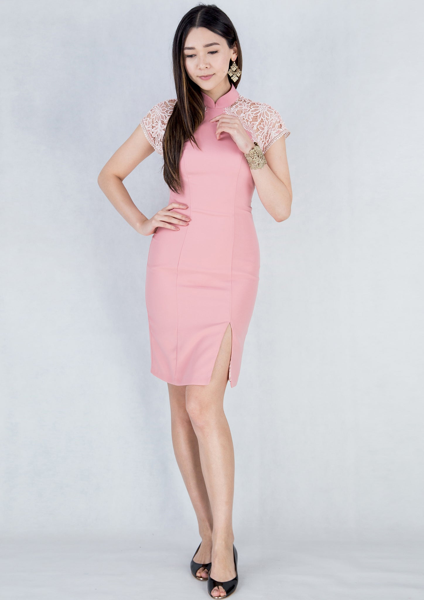 Sheer Lace Sleeves Qipao (Pink) - Moxie