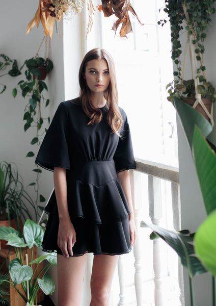 Tiered Playsuit (Black) - Moxie