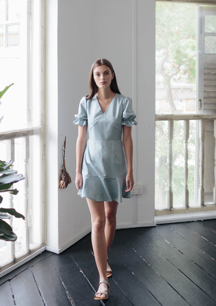 Puffed Sleeve Mini Dress (Sage)