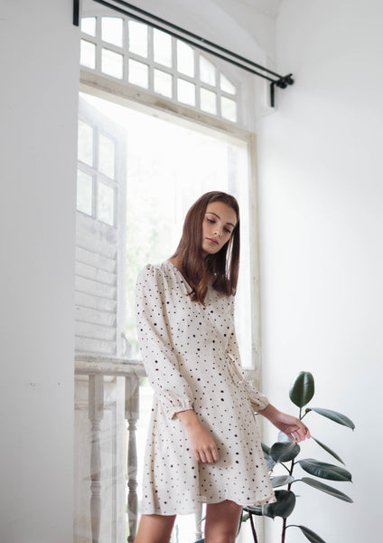Long Sleeve Wrap Dress (Cream)
