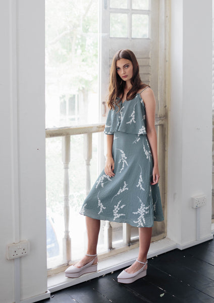 Spaghetti Dress with Frills (Sage)