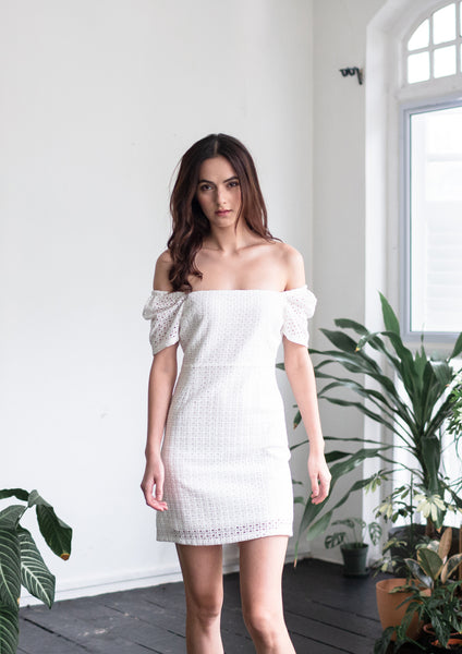 Straight Neckline Mini Dress (White) - Moxie