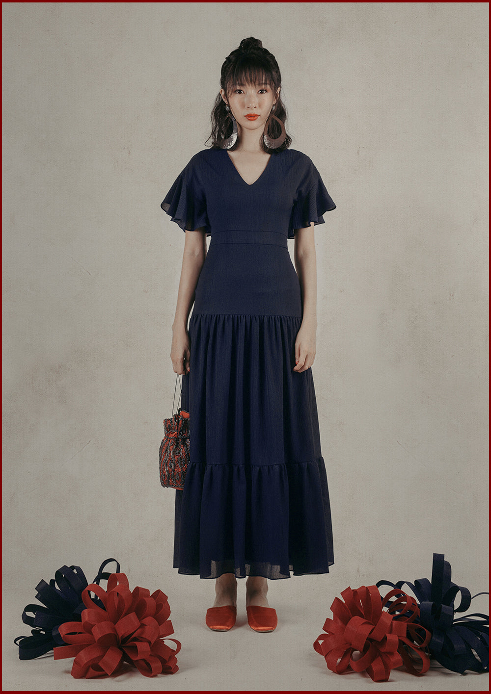 Theia Tiered Dress (Navy)