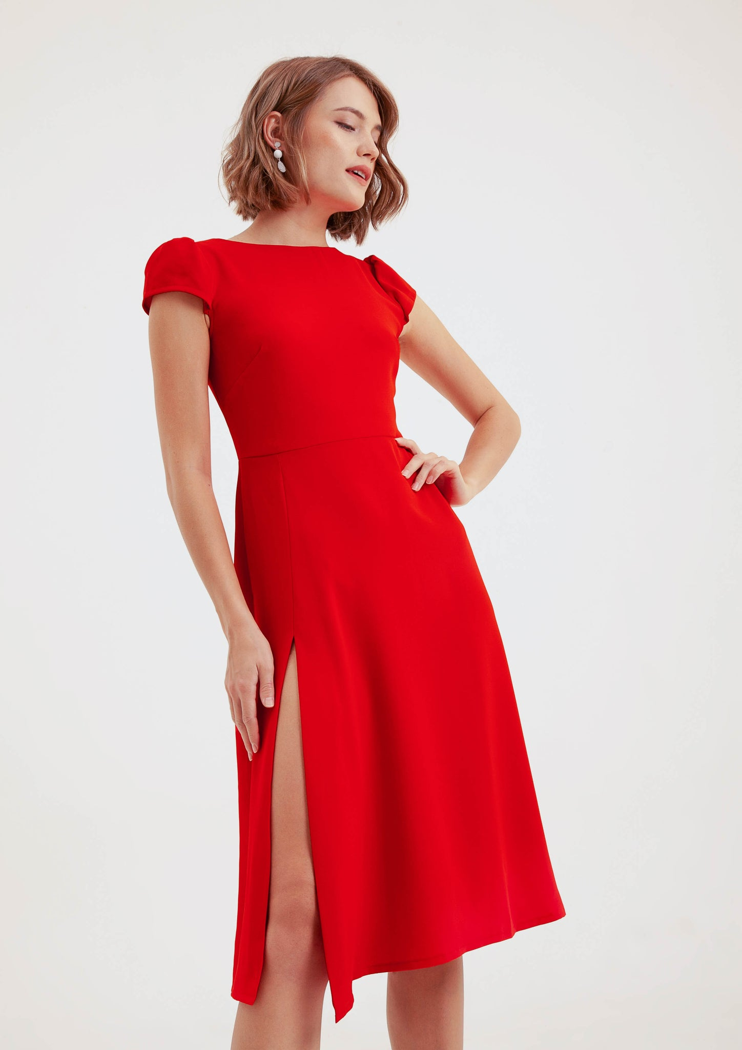 Athena Midi Dress (Red) - Moxie