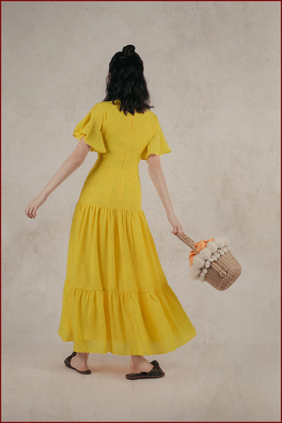 Theia Tiered Dress (Marigold)