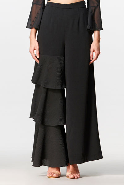Dawn Tiered Palazzo Pants (Black) - Moxie