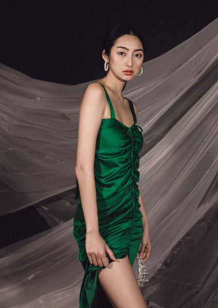 Peitho Ruched Dress (Green)