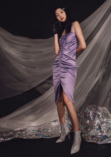 Peitho Ruched Dress (Lavender)