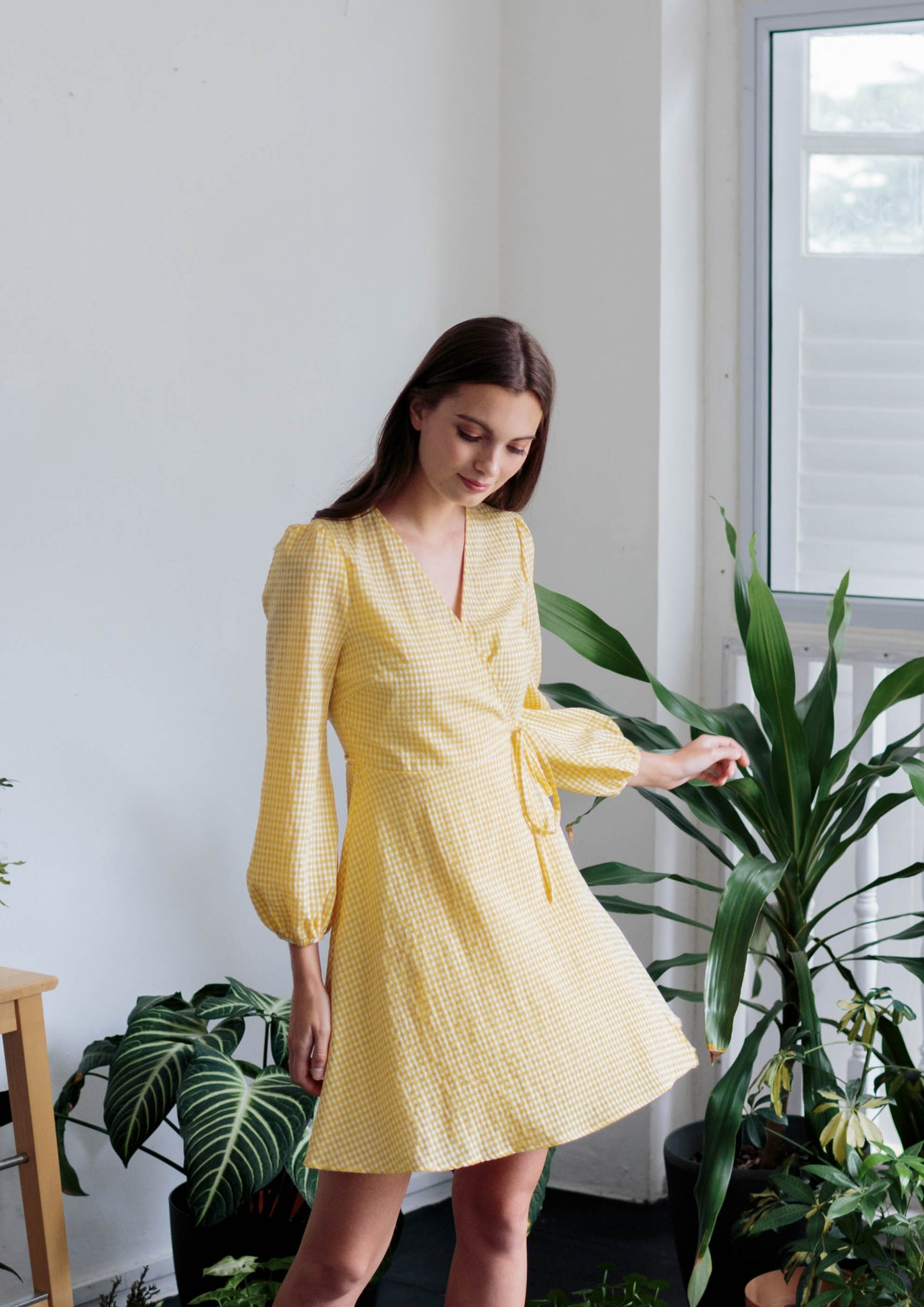 Long Sleeve Wrap Dress (Yellow) - Moxie