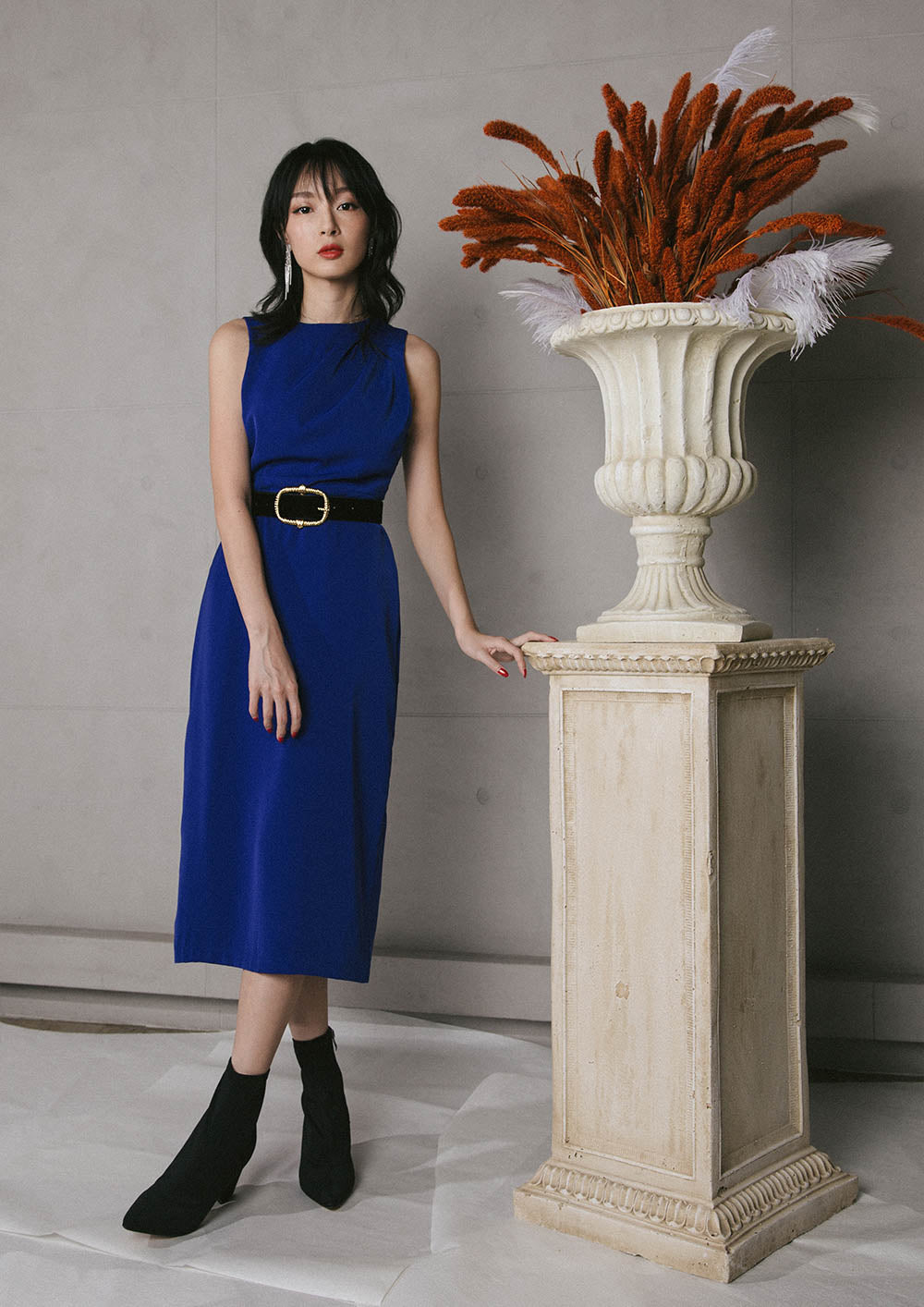 Veritas Midi Dress (Electric Blue) - Moxie