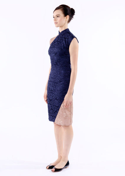 Xin Lace Panel Cheongsam (Royal Blue Metalic) - Moxie