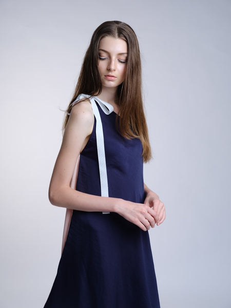 Countless Stories Toga Dress (Navy/Pink) - Moxie