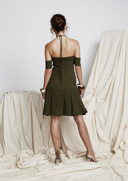 Mind Games Dress (Khaki) - Moxie