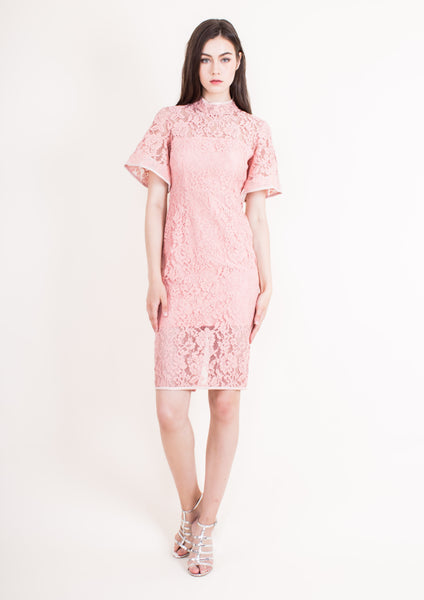 Padova Bell Sleeve Dress (Coral Almond)