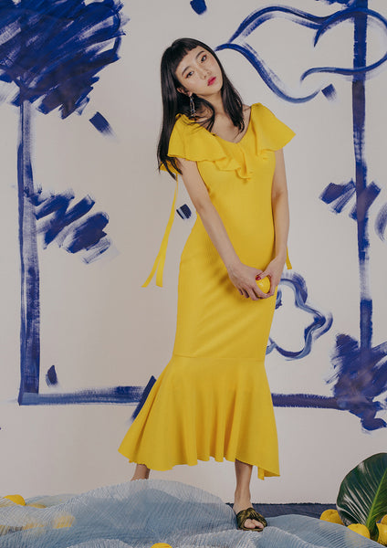 Calliope Mermaid Dress (Yellow) - Moxie
