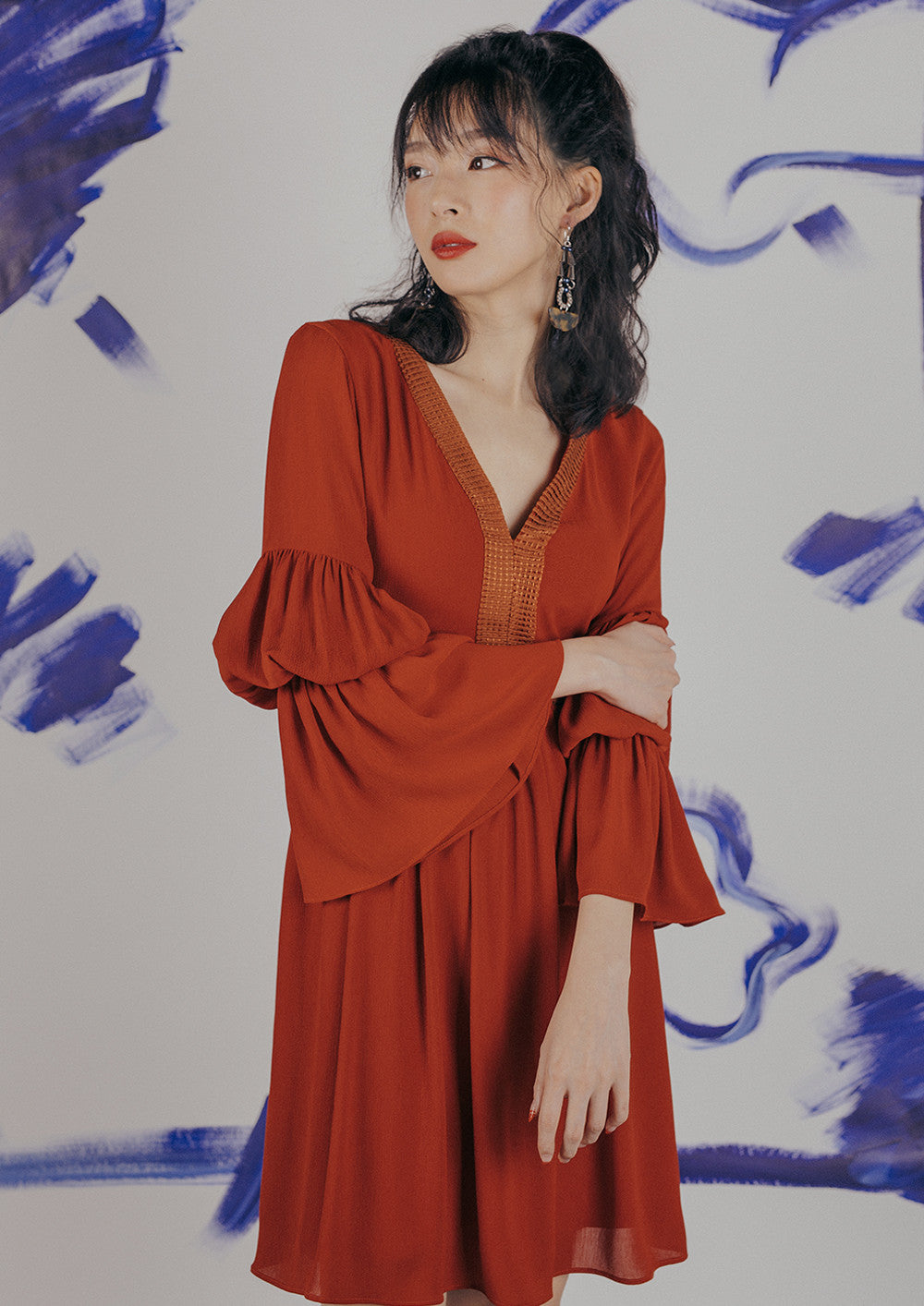Hebe Boho Dress (Rust Red)