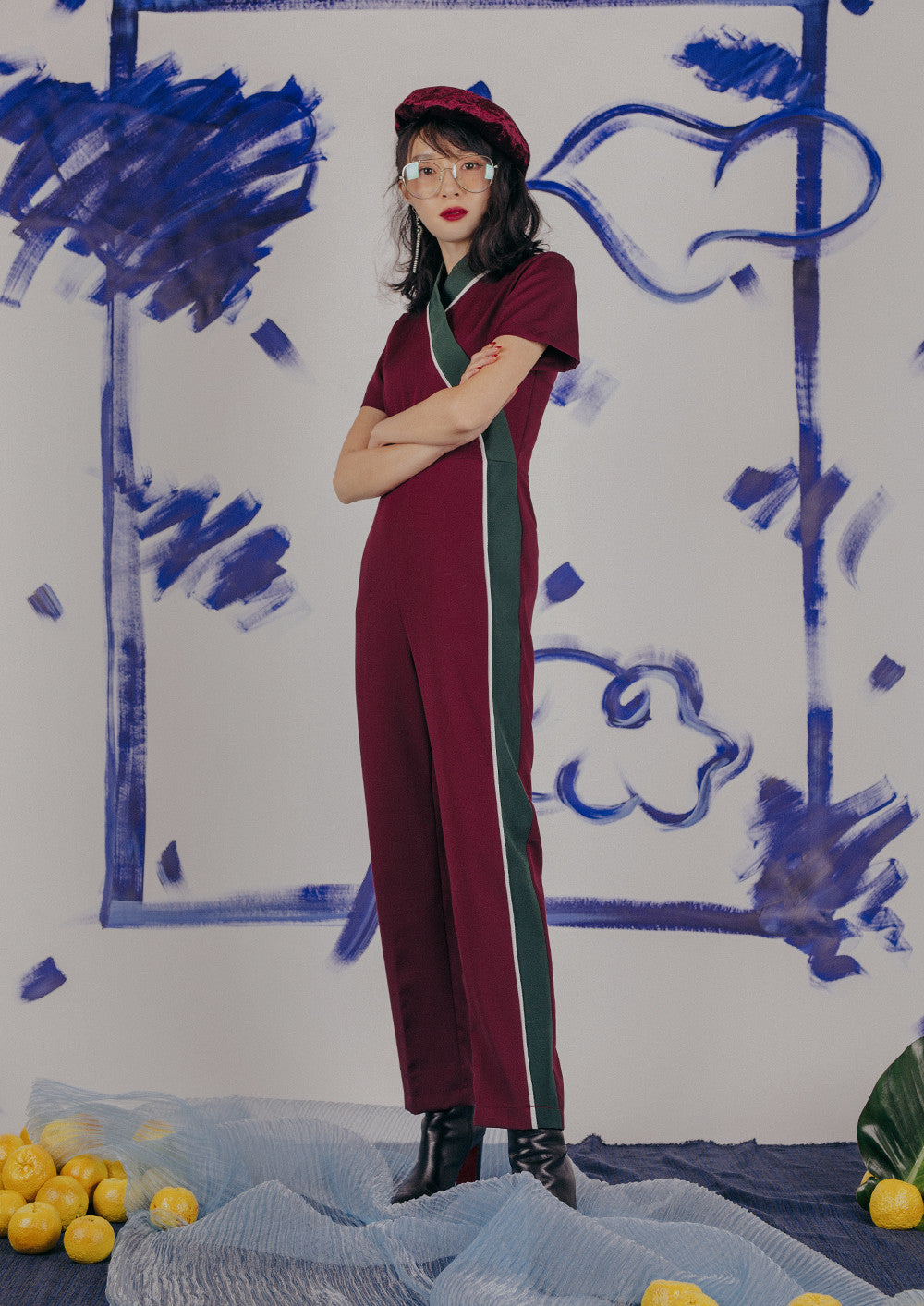Leda Jumpsuit (Wine)