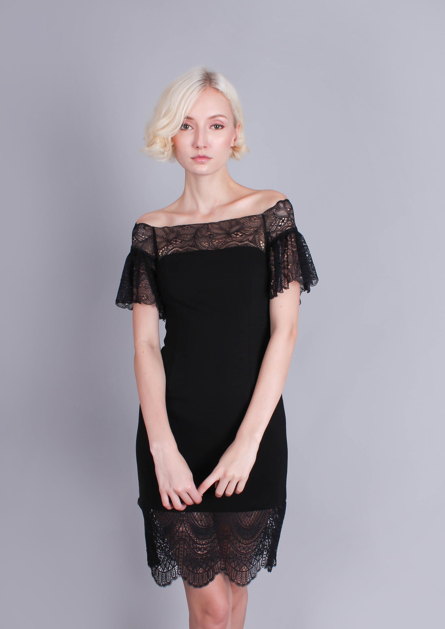 Carrie Lace Trim Off Shoulder Dress - Moxie