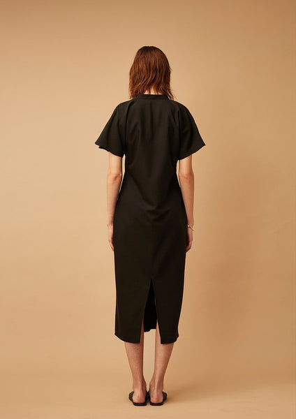 Dame Mandarin Collar Dress (Black)