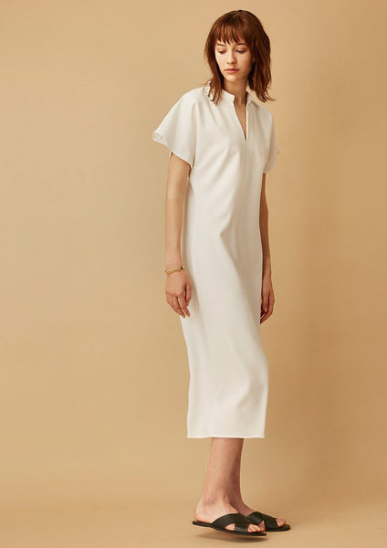 Dame Mandarin Collar Dress (White) - Moxie