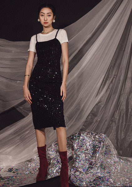 Kotys Sequin Slip Dress (Black)
