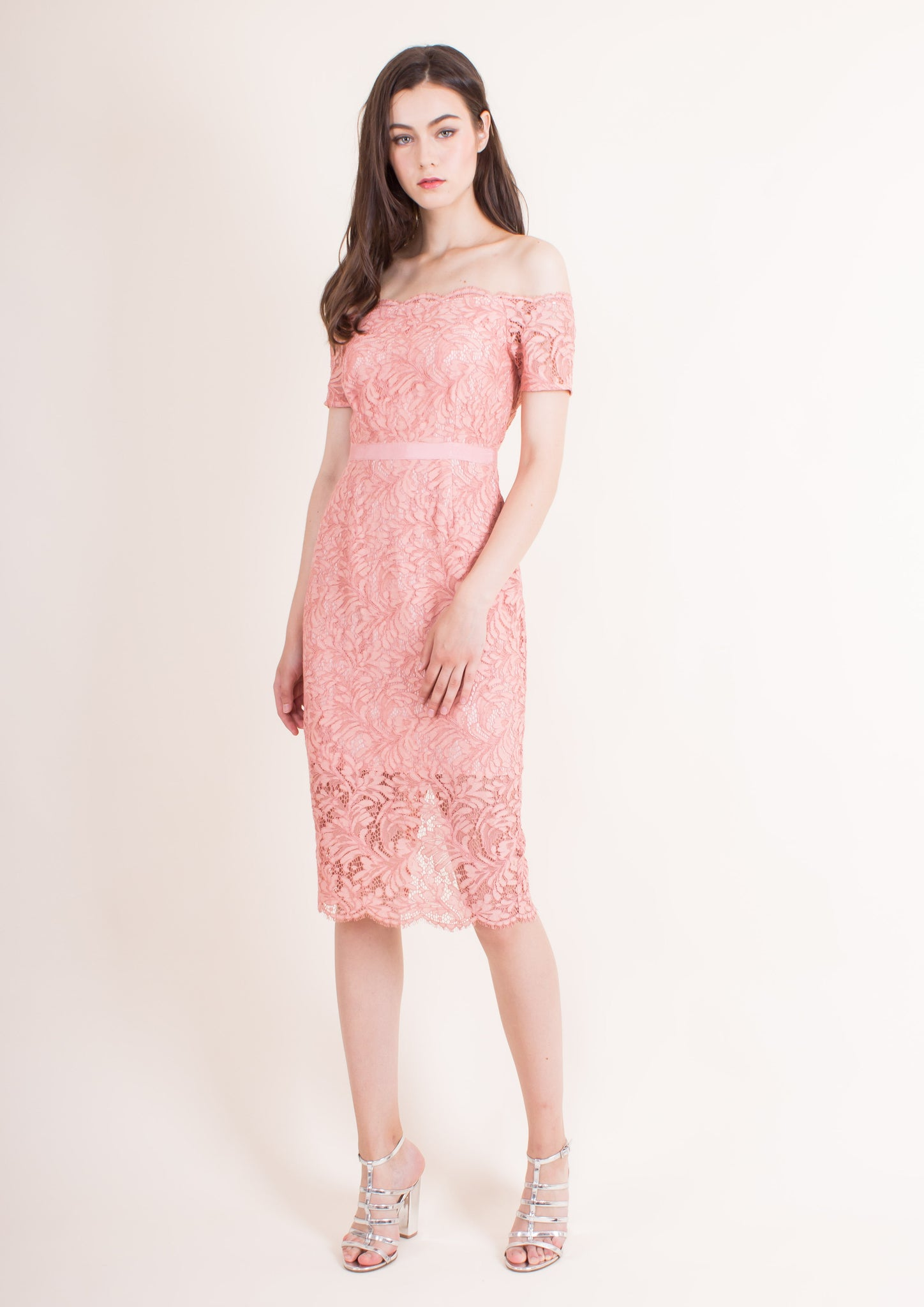 Livia Off-shoulder Pencil Dress (Coral Almond)