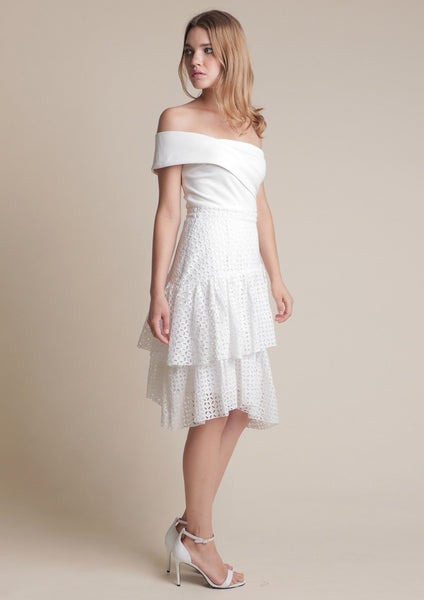 Textured Layered Midi Skirt (White)