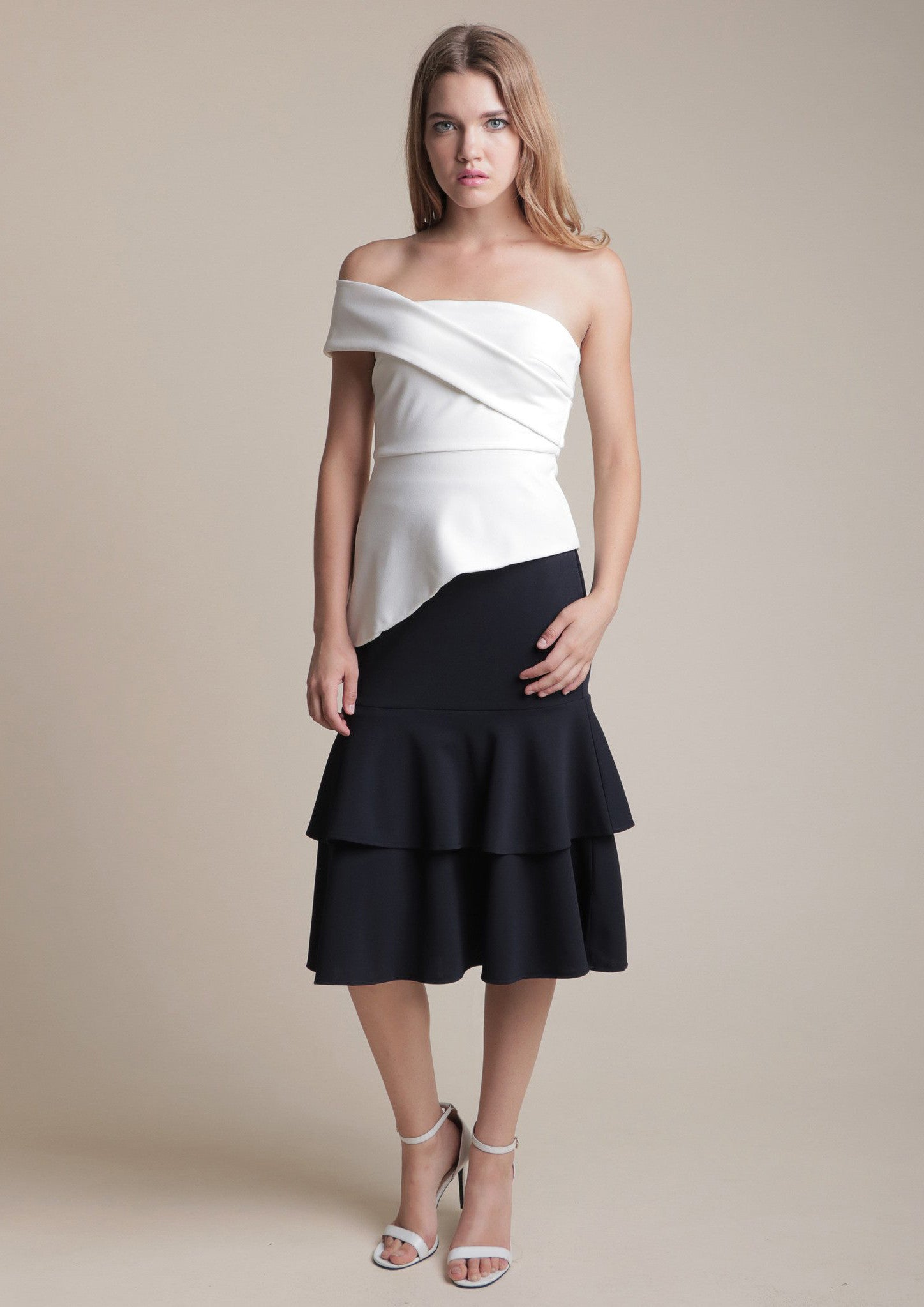 Diagonal Strap with Irregular Hem (White) - Moxie