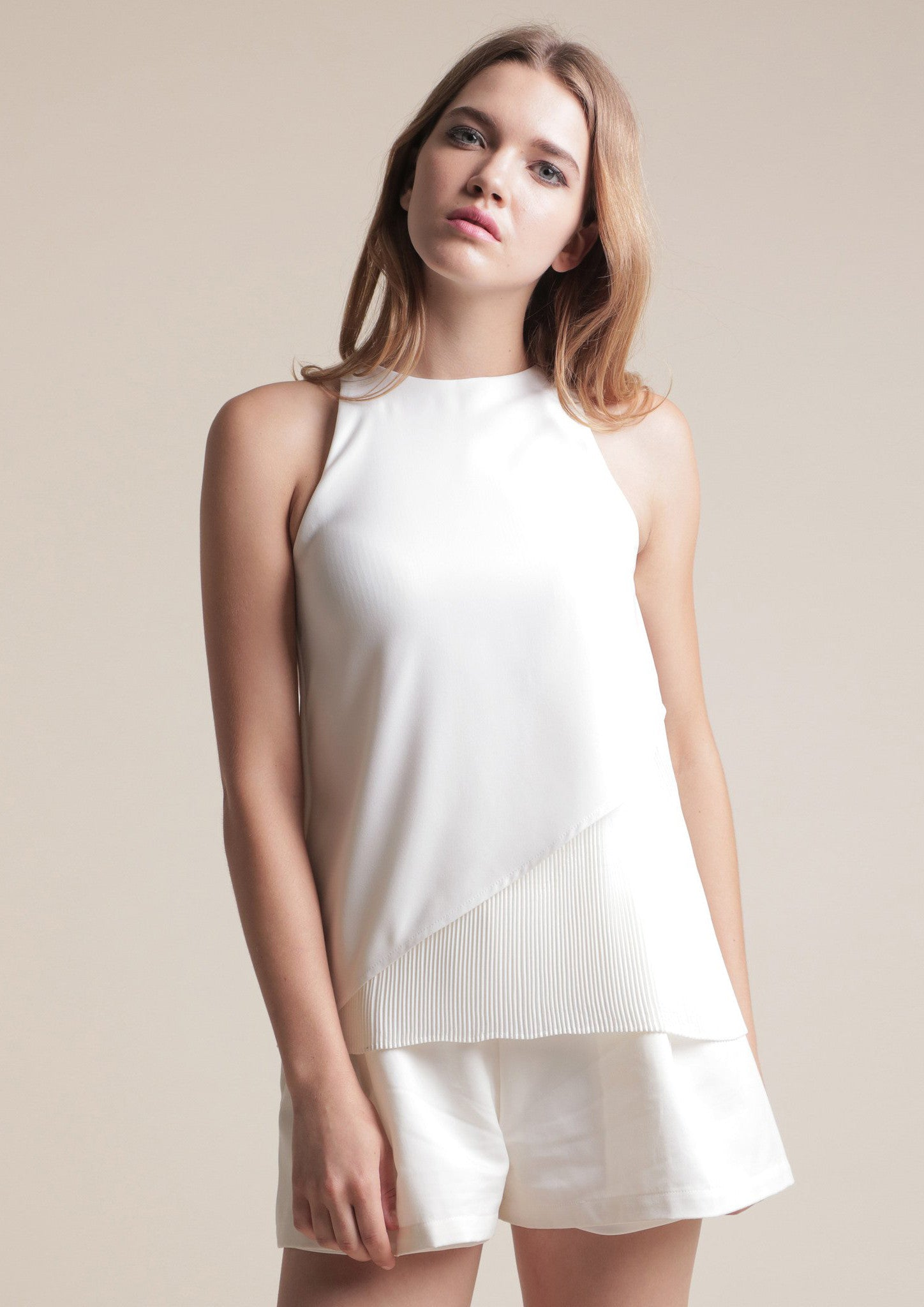 Half Pleated Top (White) - Moxie