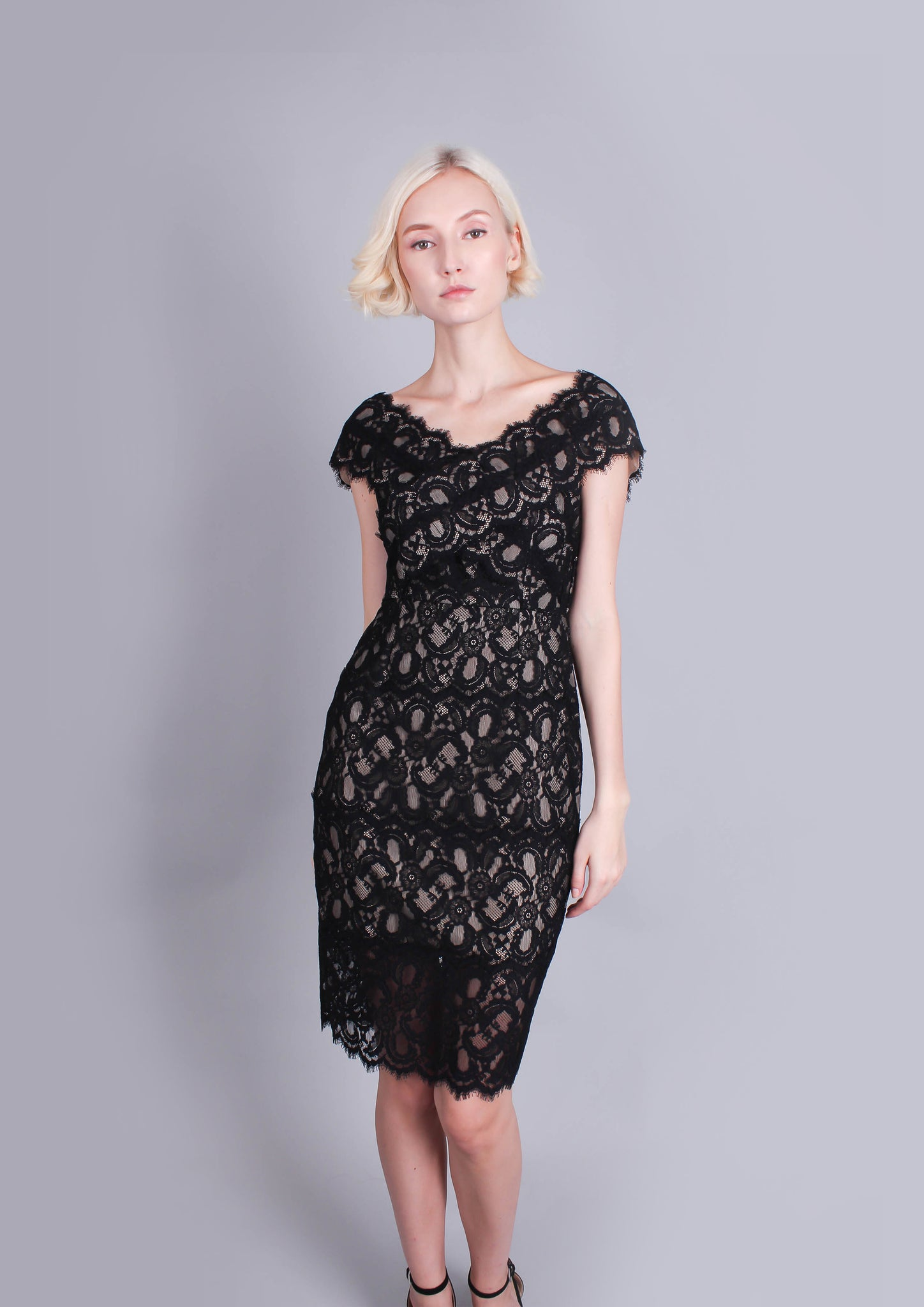 Millie Lace Off Shoulder Dress (Black)