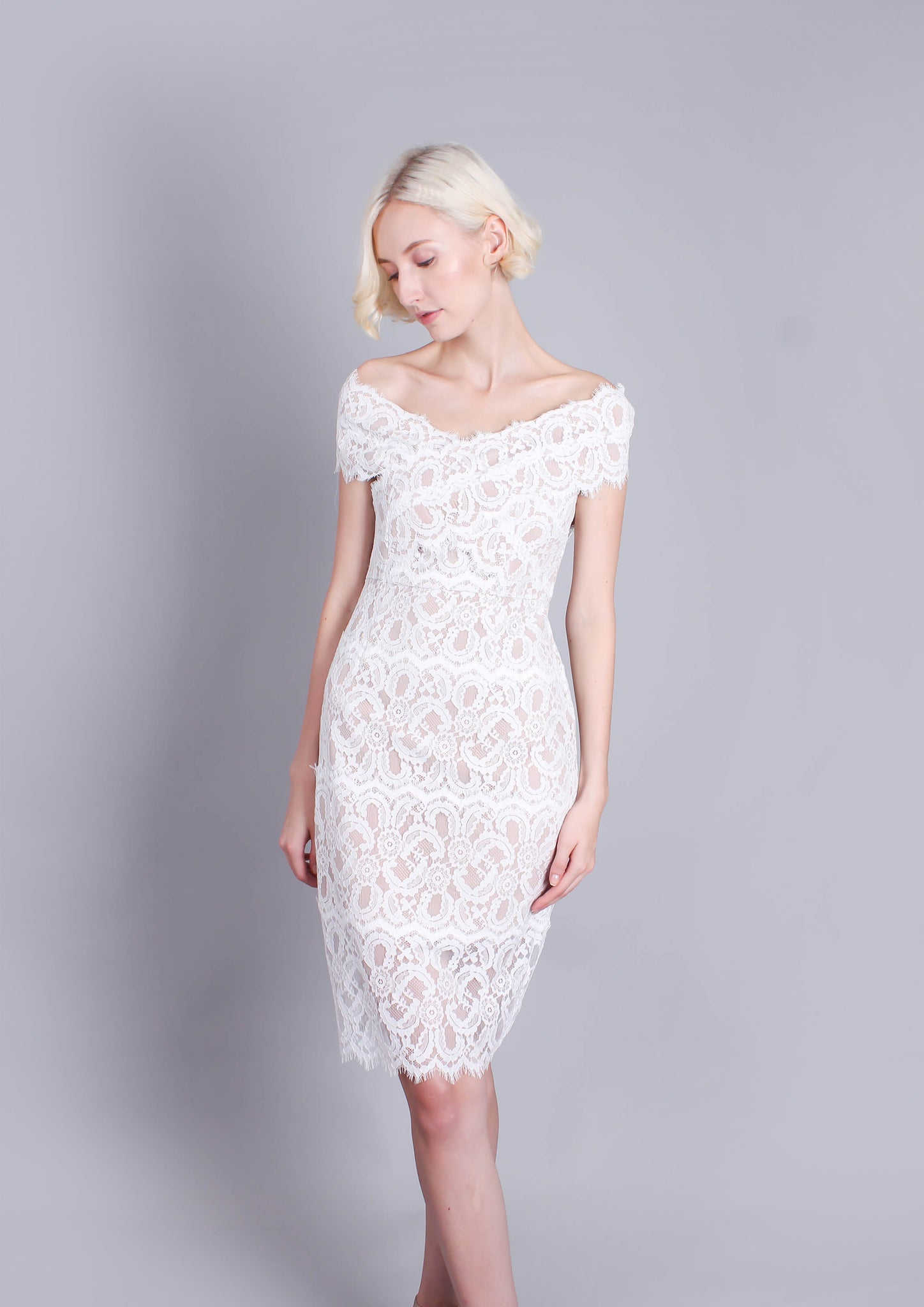 Millie Lace Off Shoulder Dress (White)