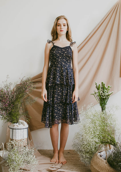Nightingale Chiffon Midi Dress (Navy) - Moxie