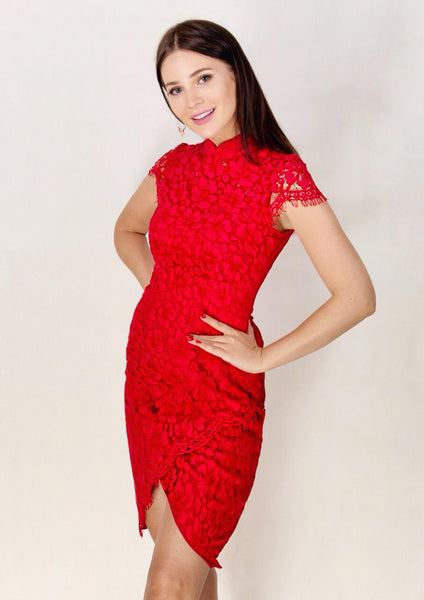 Le Cap Sleeve Lace Qipao (Red)