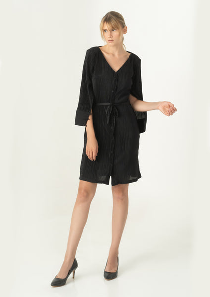 Garn Shirt Dress (Black)