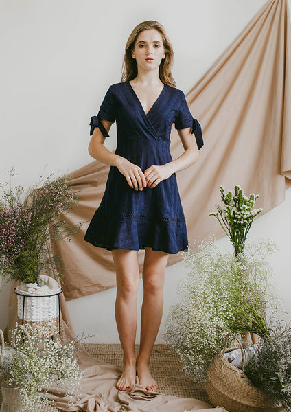 Reverie Eyelet Dress (Navy) - Moxie