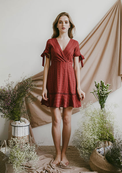 Reverie Eyelet Dress (Rust) - Moxie