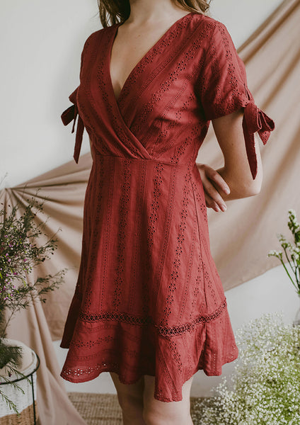 Reverie Eyelet Dress (Rust)