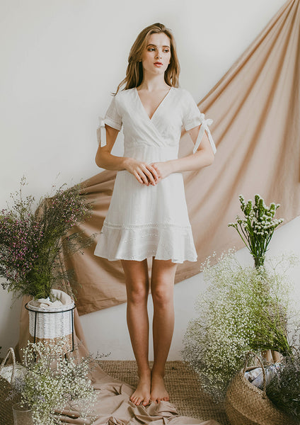 Reverie Eyelet Dress (White) - Moxie