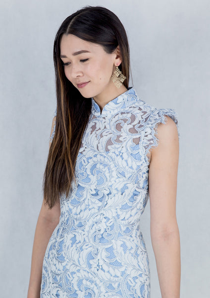 Sleeveless Lace Qipao (Baby Blue)