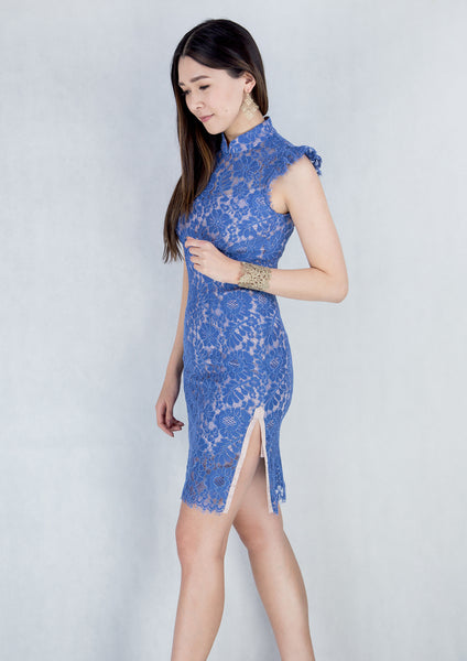 Sleeveless Lace Qipao (Periwinkle)