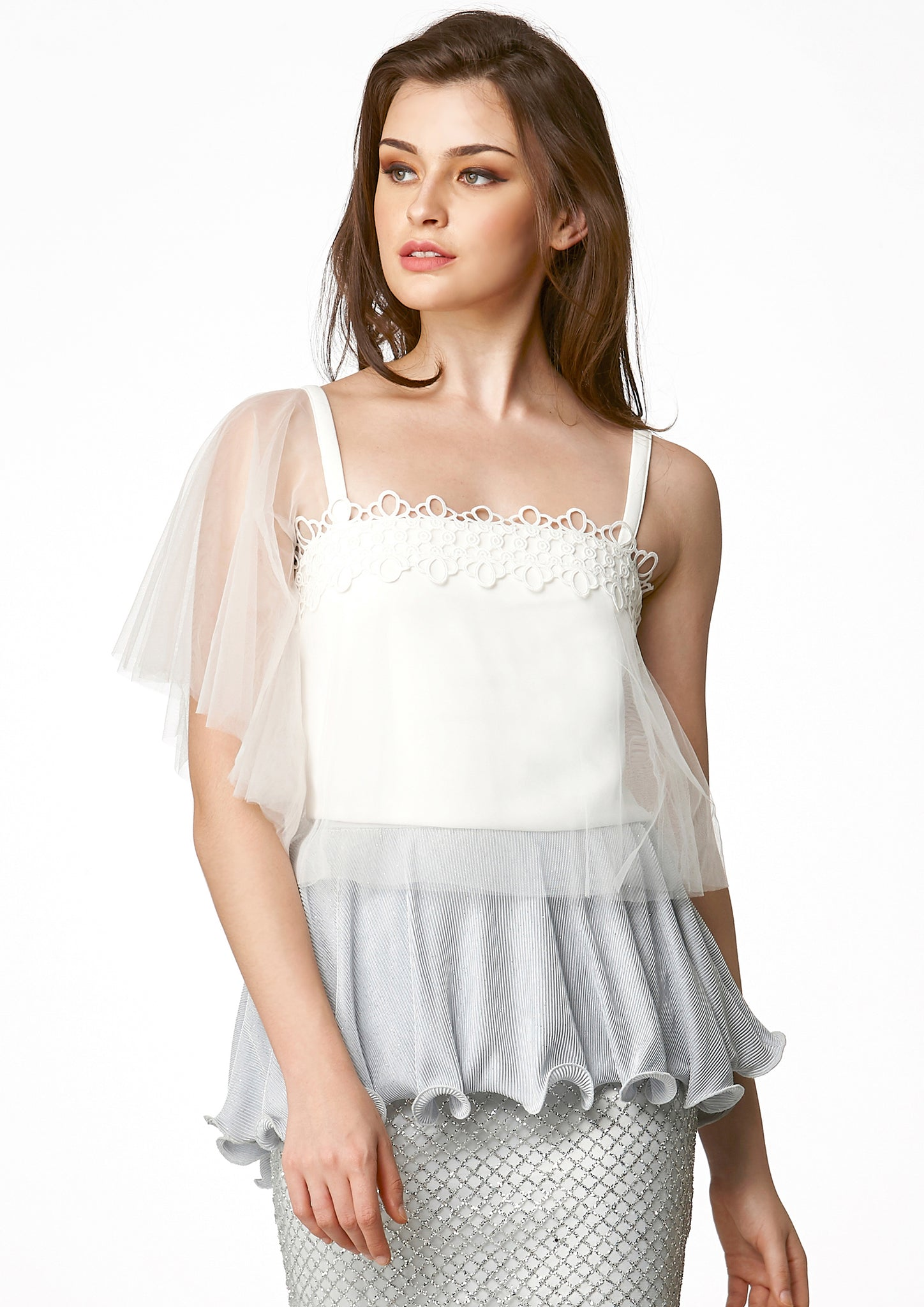 MOS Tulle Crop Top (White) - Moxie
