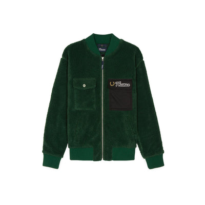 HEAVY FLEECE BOMBER JACKET TARTAN GREEN